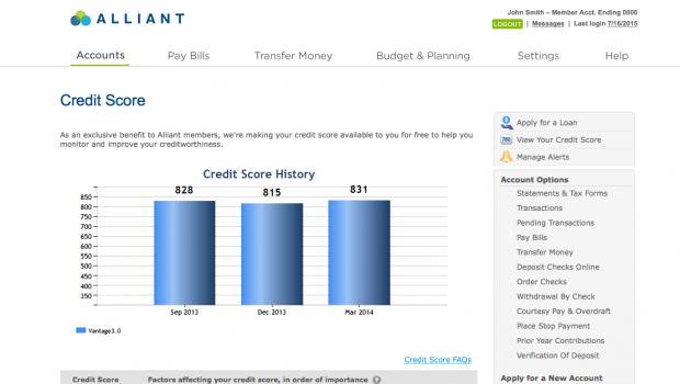 Alliant Credit Union Online Banking - Credit Scores