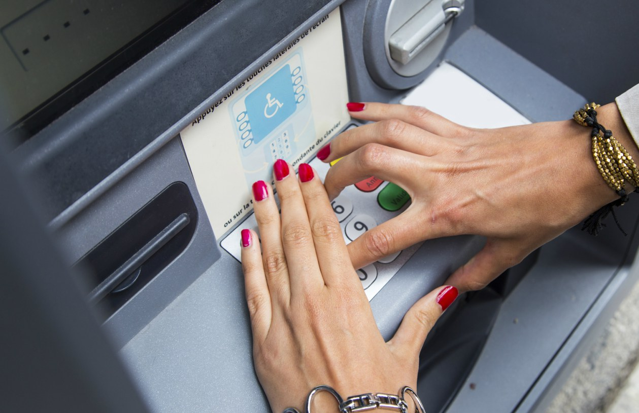 ATM PIN entry, protect your PIN